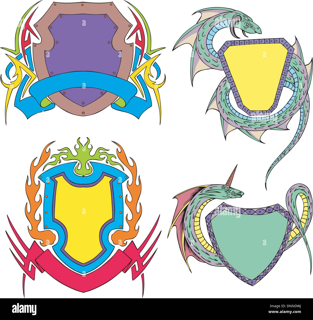 Stylized shield templates. Set of color vector illustrations Stock ...