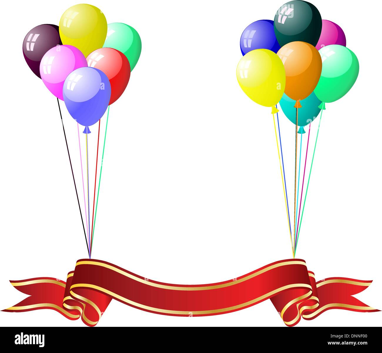 Beautiful colour balloons in the air. Vector illustration. - Stock Image