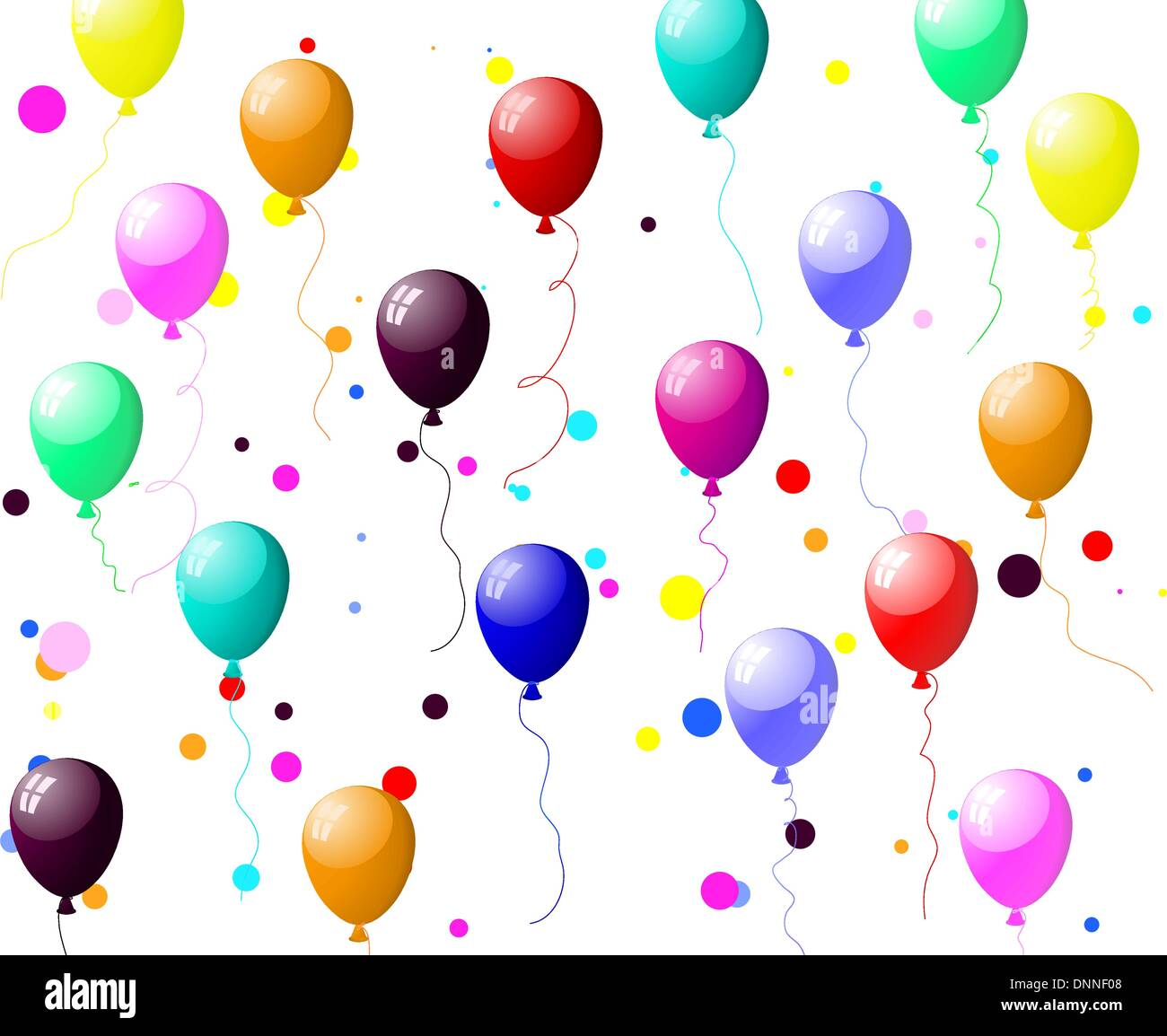 Beautiful colour balloon in the air. Vector illustration. - Stock Image