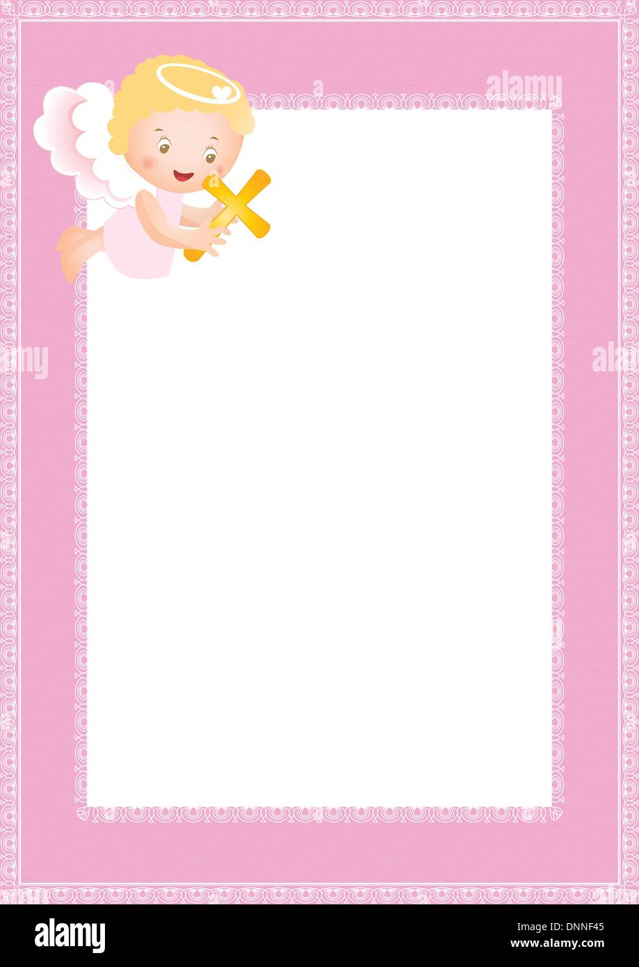 Baby baptism frame with small angel Stock Vector Art & Illustration ...