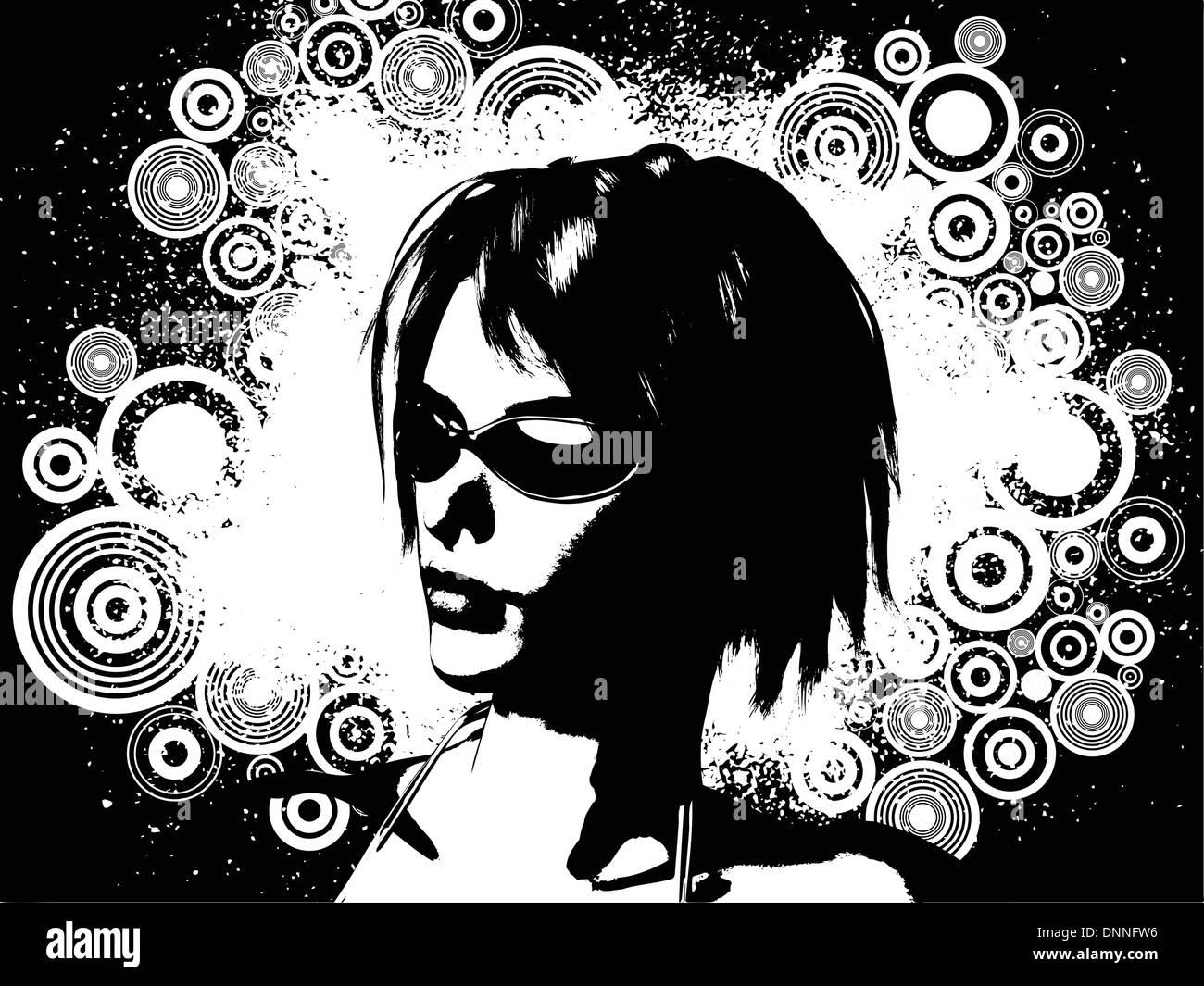 Female face on grunge background - Stock Image