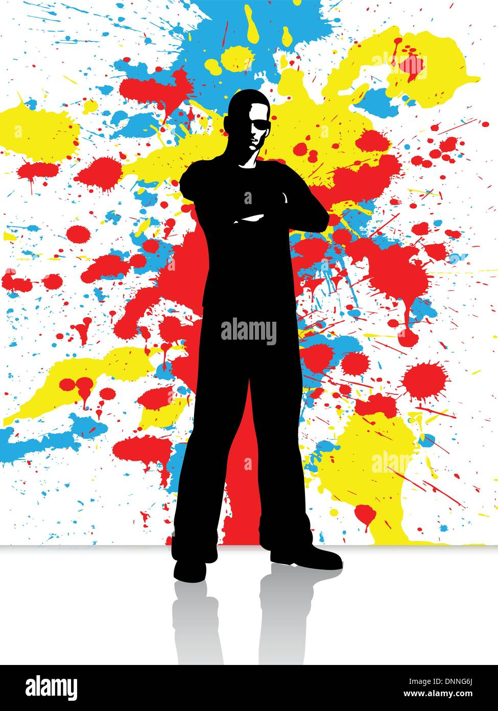 Silhouette of a male on a grunge background - Stock Image