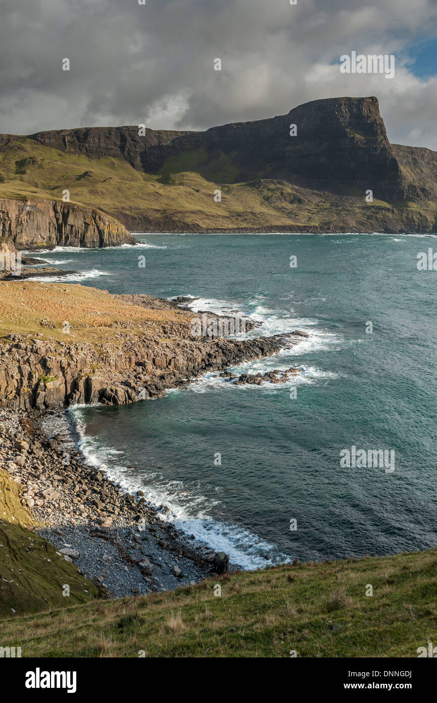 Moonen Bay at Neist Point in Duirnish, the most westerly point on the Isle of Skye. The prominent feature is Waterstein Stock Photo