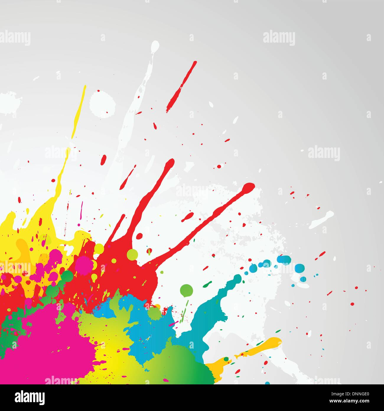 Grunge background with colourful paint splats - Stock Image