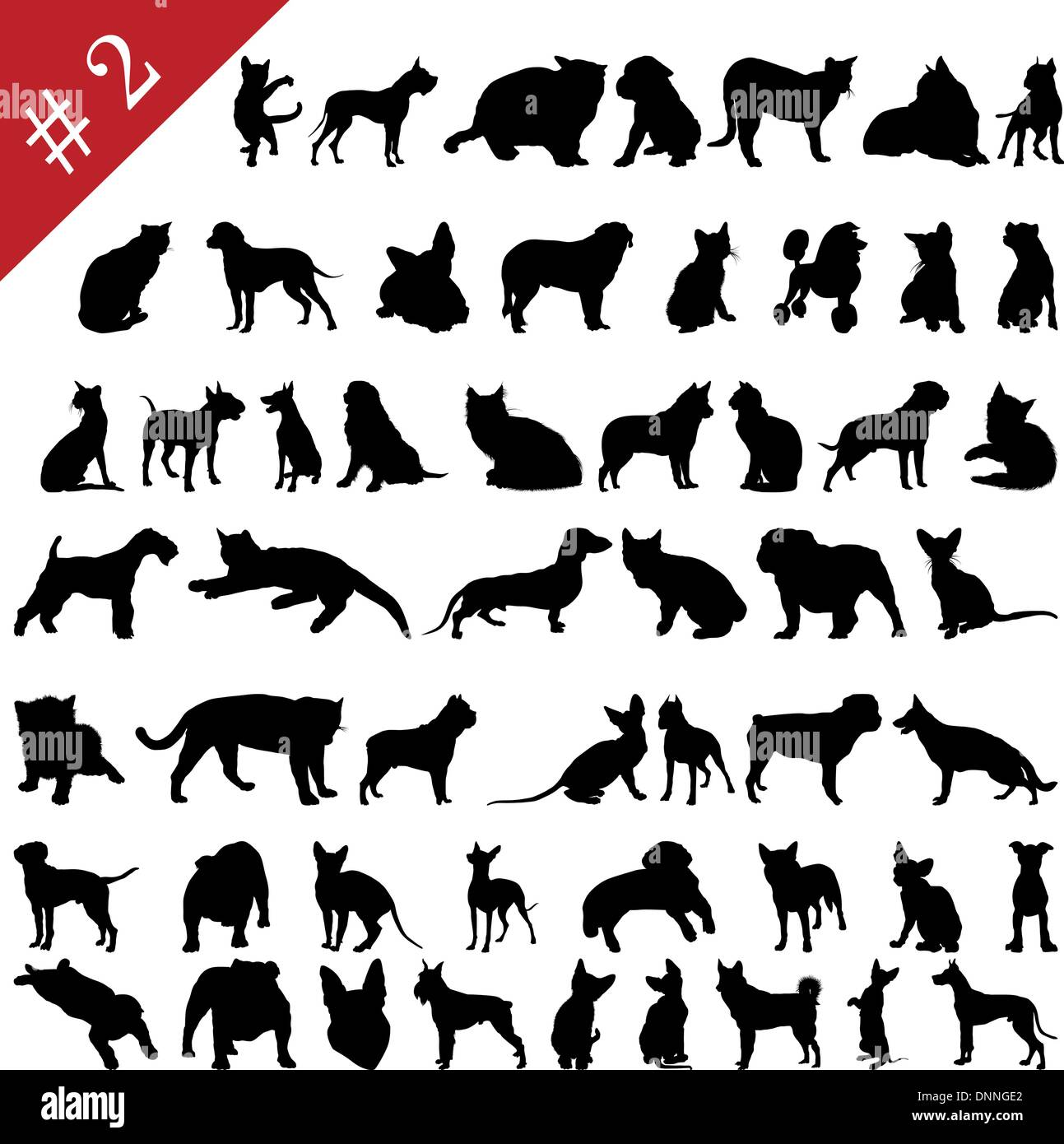 Set # 2 of different vector pets silhouettes for design use - Stock Vector