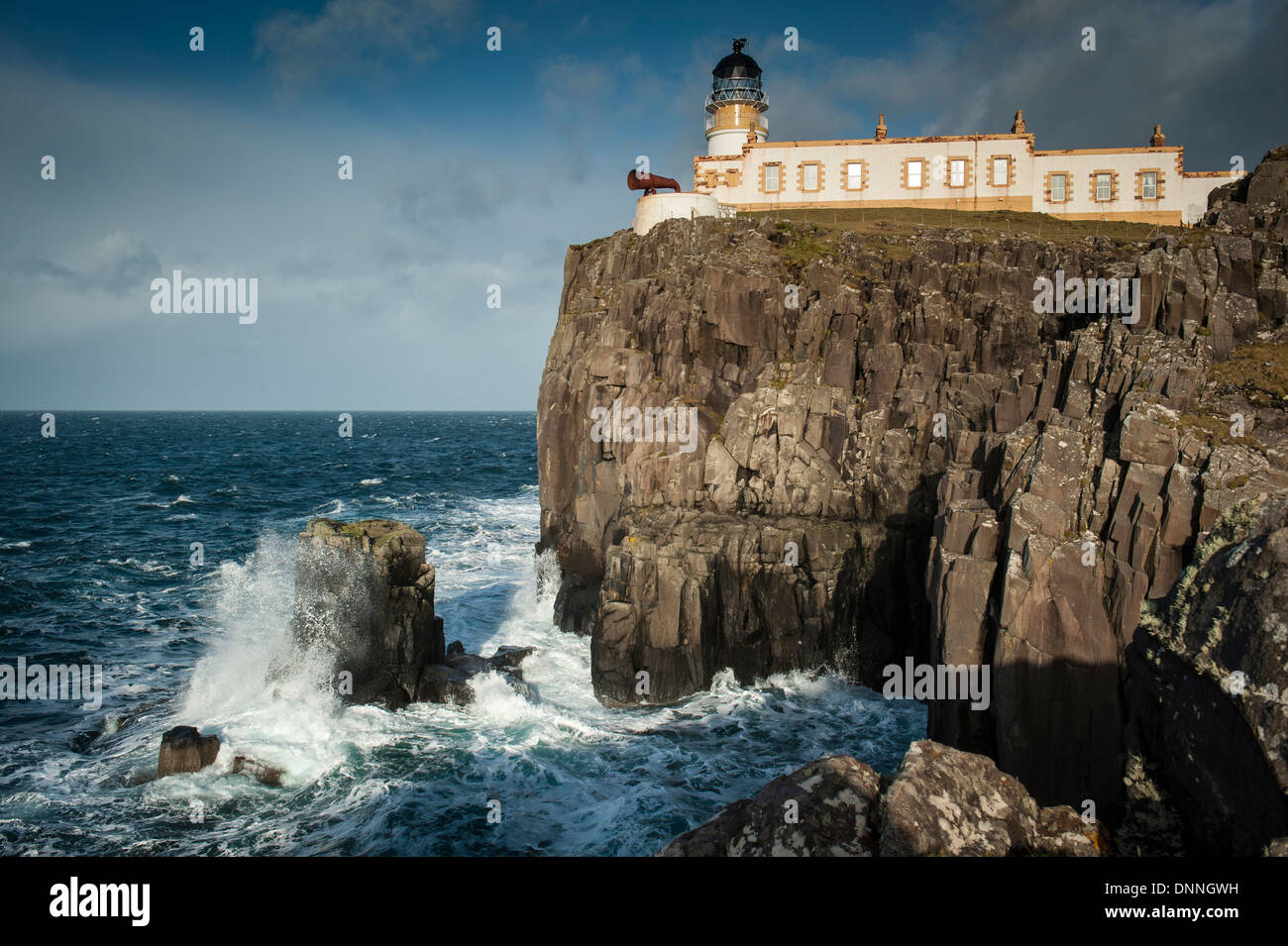 The lighthouse on the most westerly point of Skye were built in 1909 for the Northern Lighthouse Board by David Stock Photo