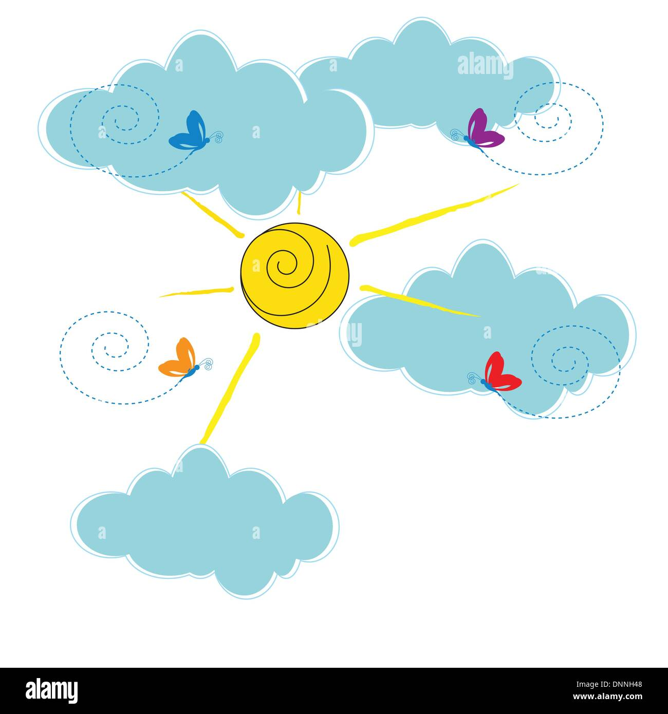 Cute card with clouds and sun shine - Stock Image