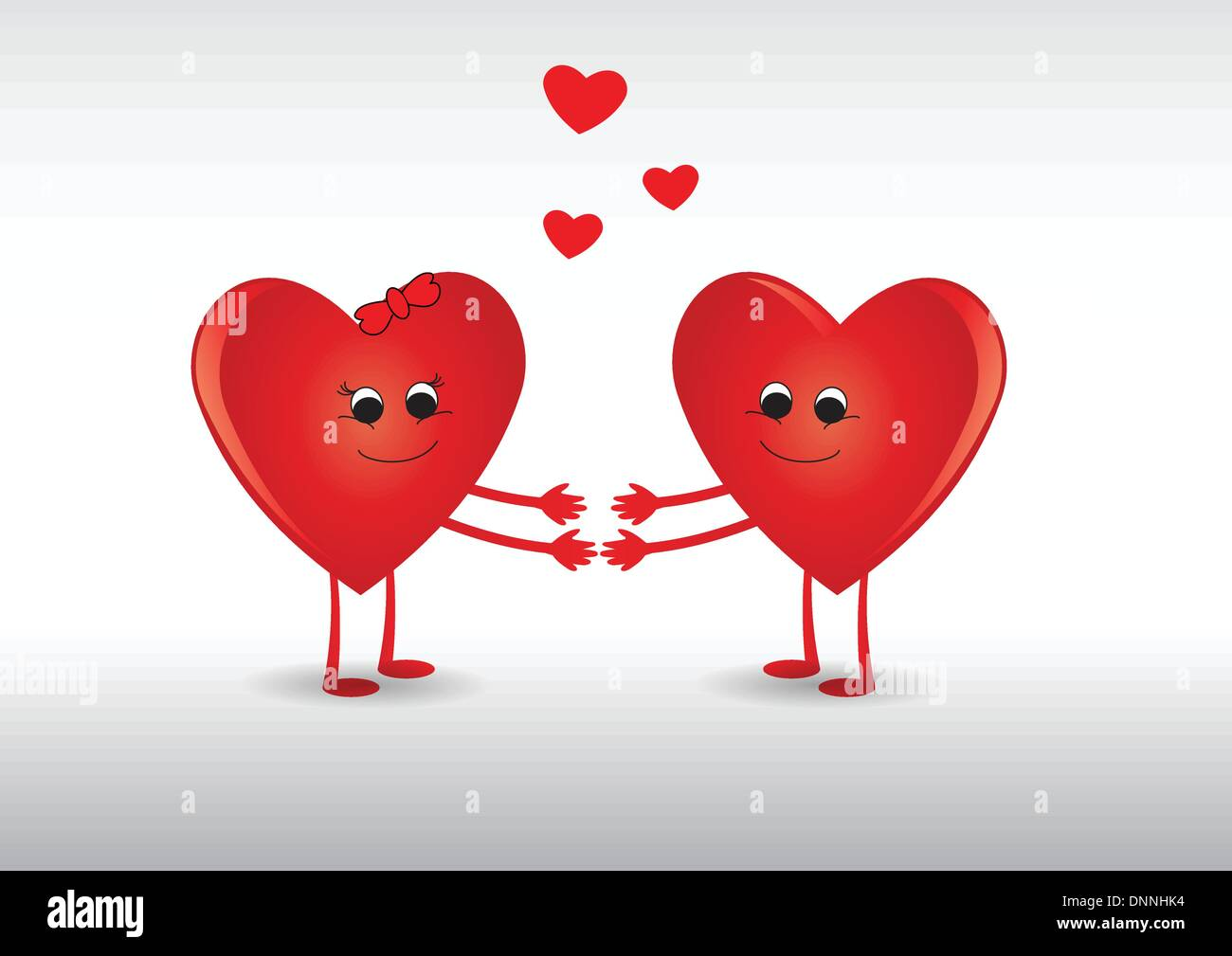 Funny card with hearts on valentine's day - Stock Image