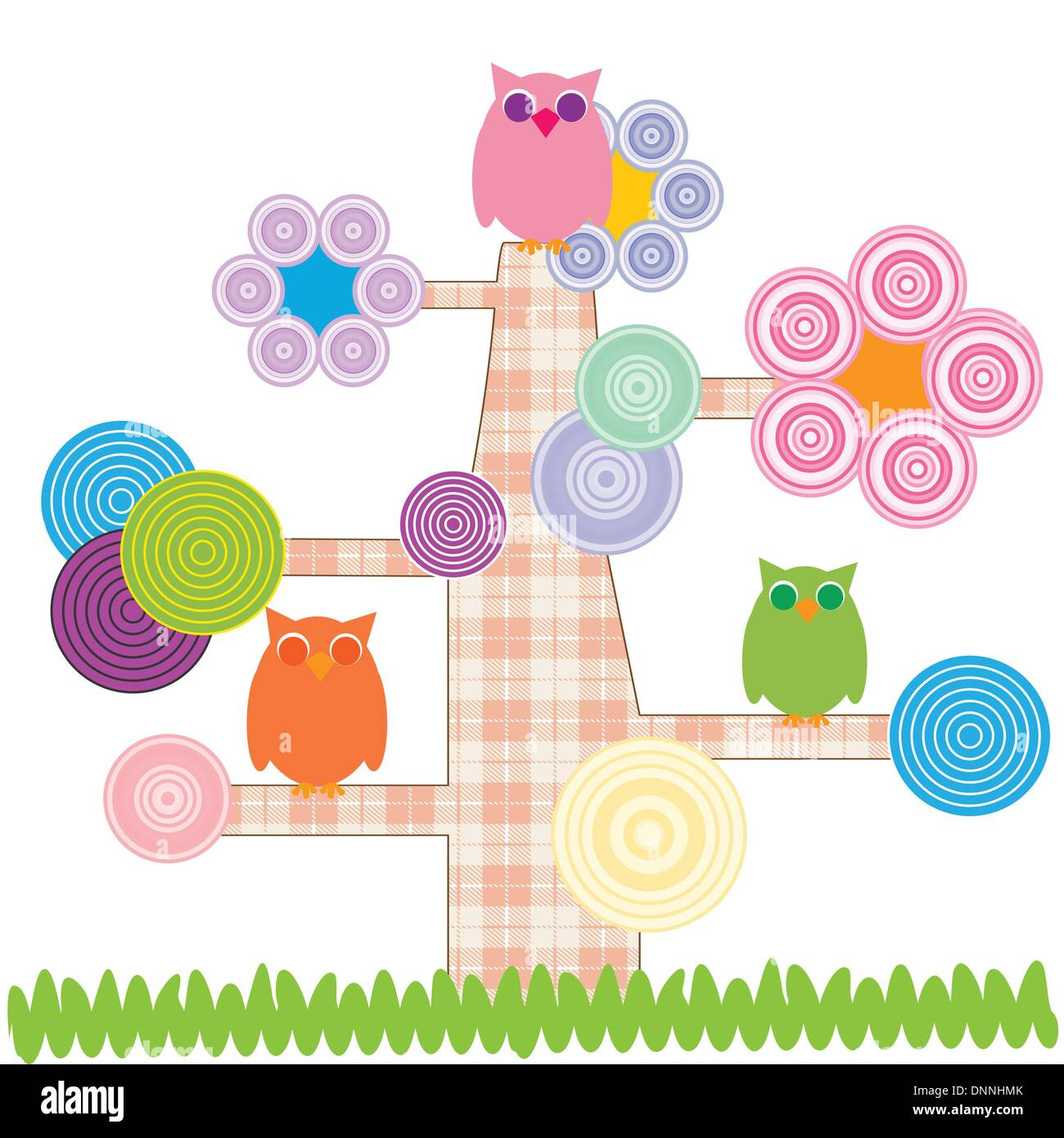 Cute kids cartoon with tree and owns Stock Vector