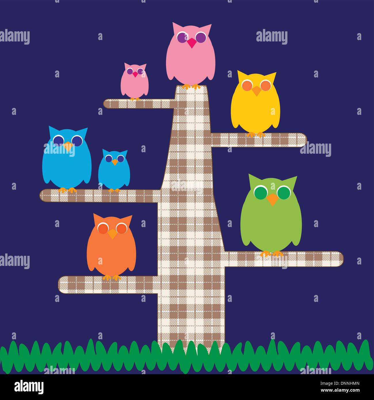 Cute kids cartoon with tree and owns - Stock Image