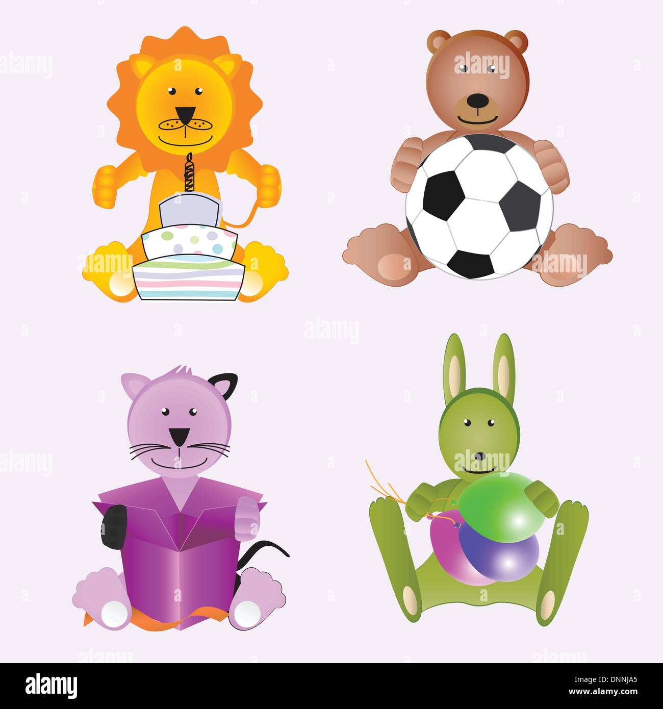 Four animals with gift, cake, balloon and ball - Stock Image