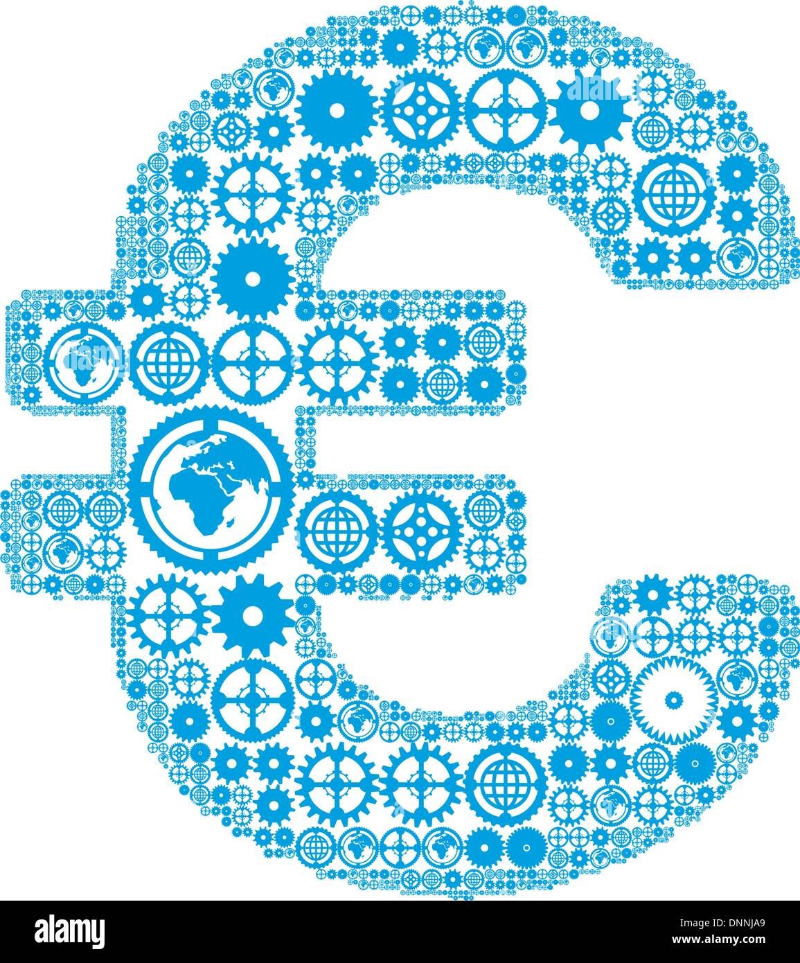 Euro sign on a white background, made of gears. Vector illustration - Stock Image