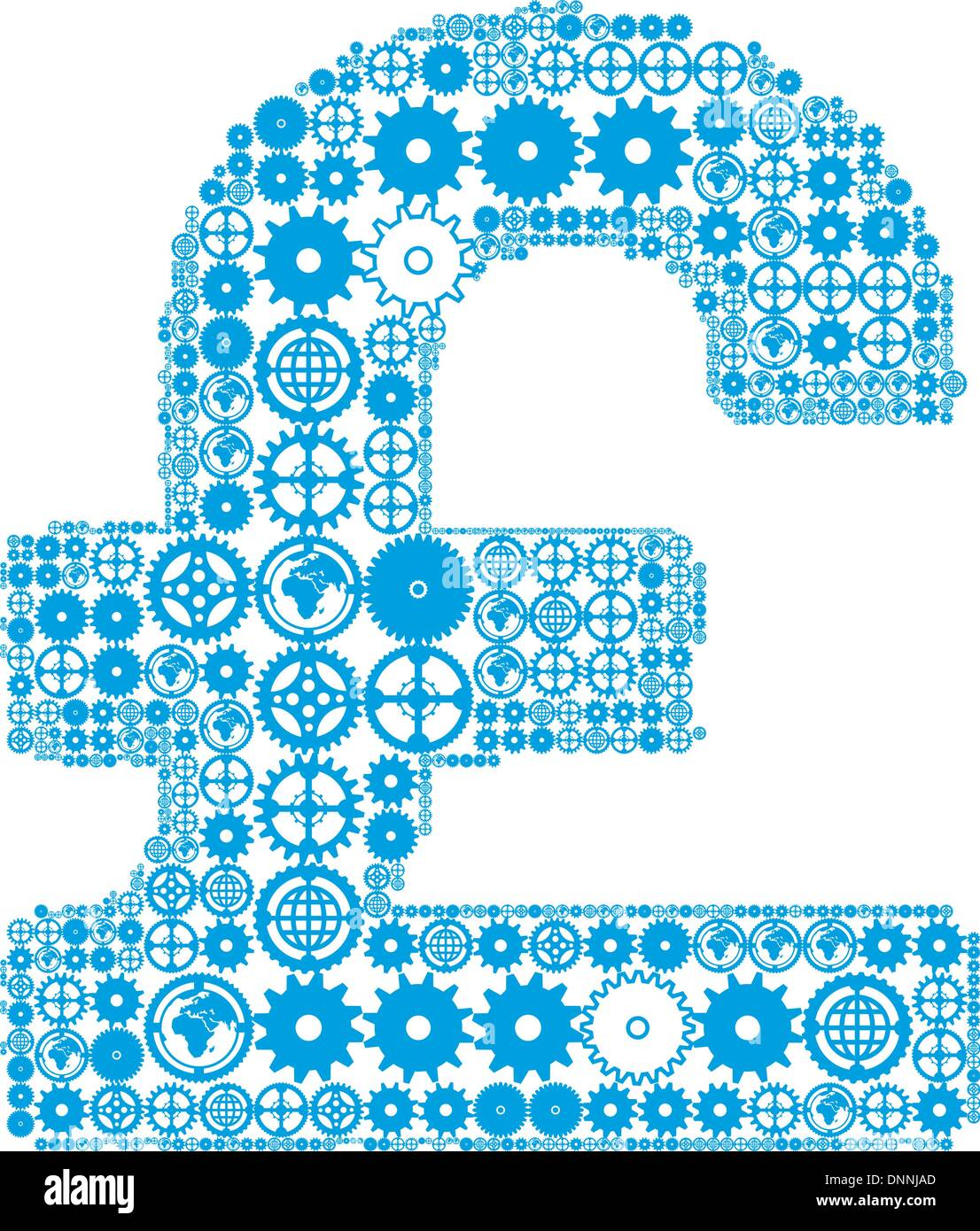 British pound sign on a white background, made of gears. Vector illustration - Stock Vector