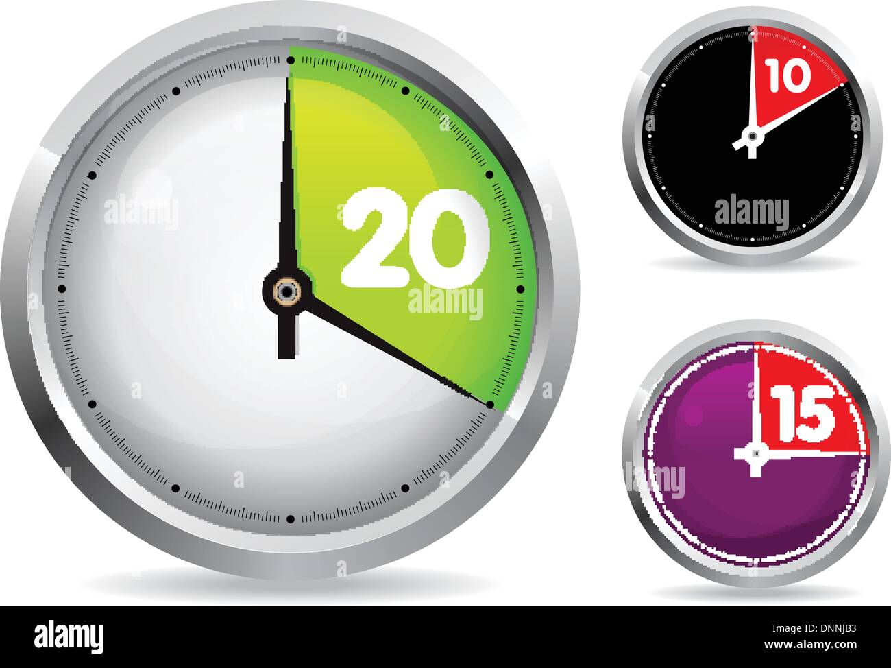 set of 10 and 20 minutes timer vector illustration easy ro edit