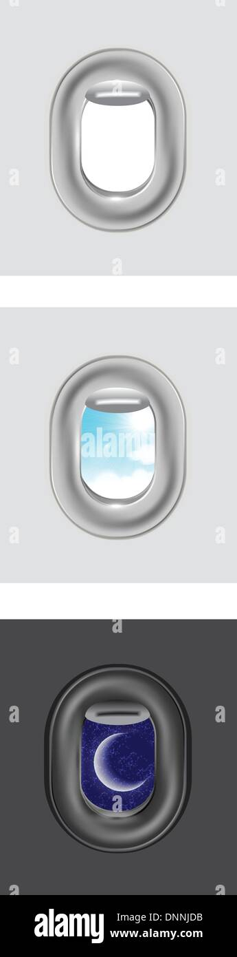 Clouds and sky as seen through window of an aircraft Stock Vector