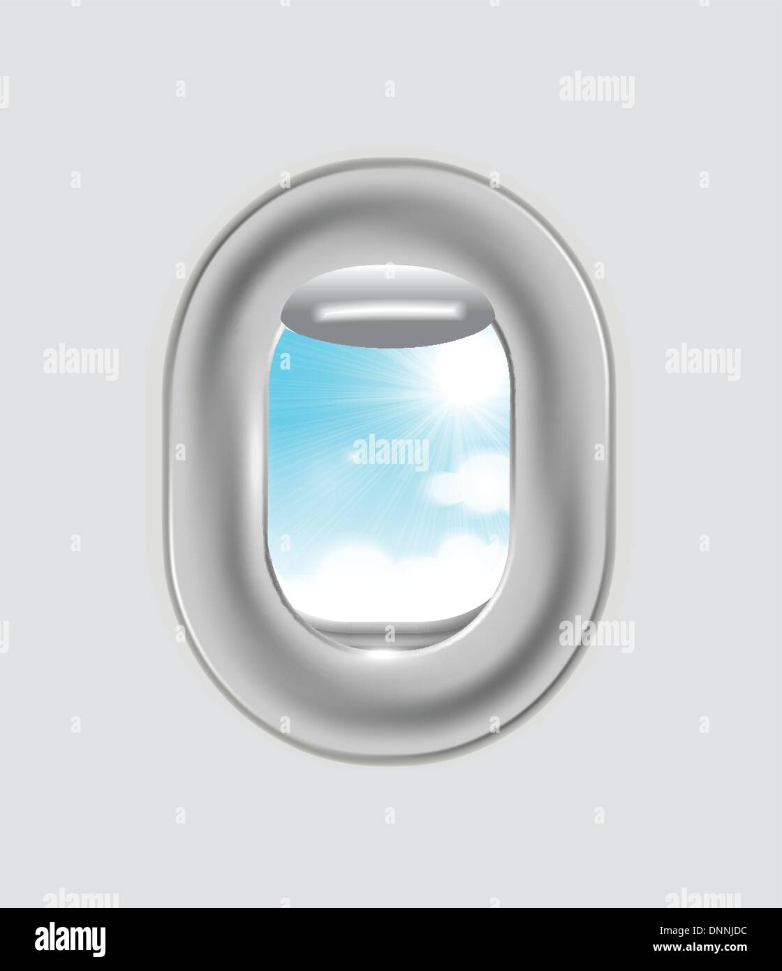 Clouds and sky as seen through window of an aircraft - Stock Vector