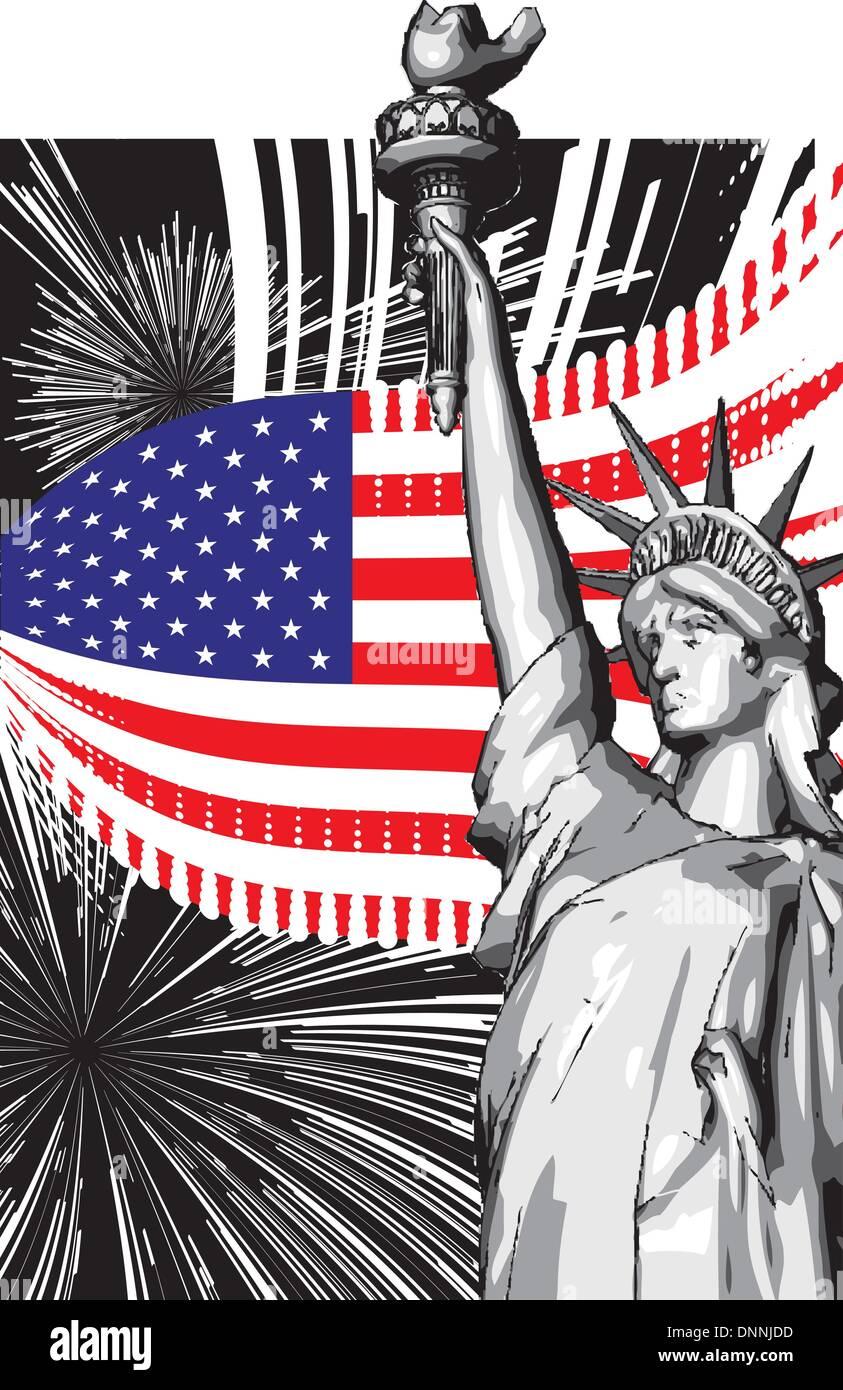 American Symbols Flag Statue Liberty Stock Vector Images Alamy