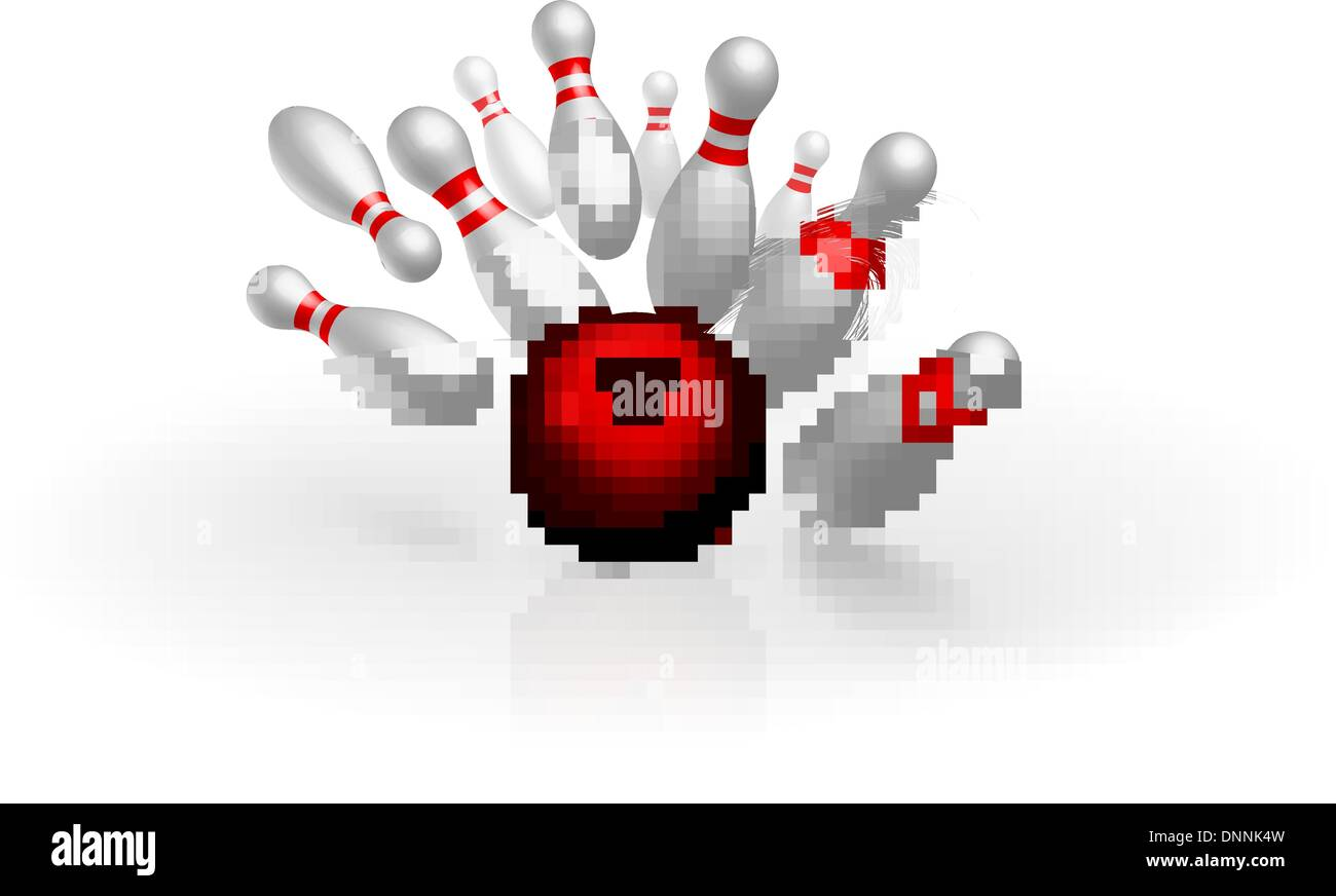 Bowling strike vector illustration isolated on white background - Stock Vector