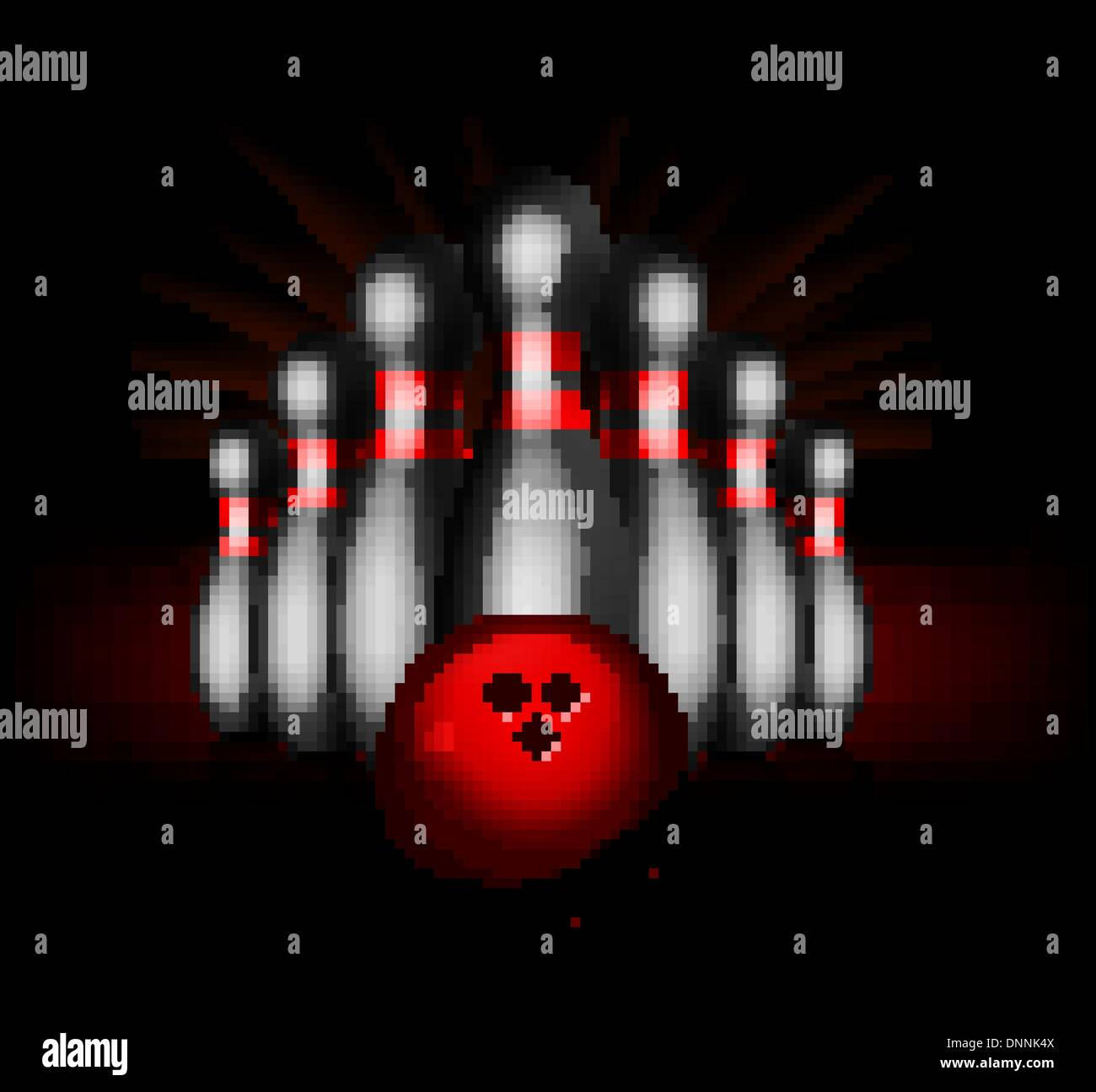 Bowling vector illustration isolated on black background - Stock Vector
