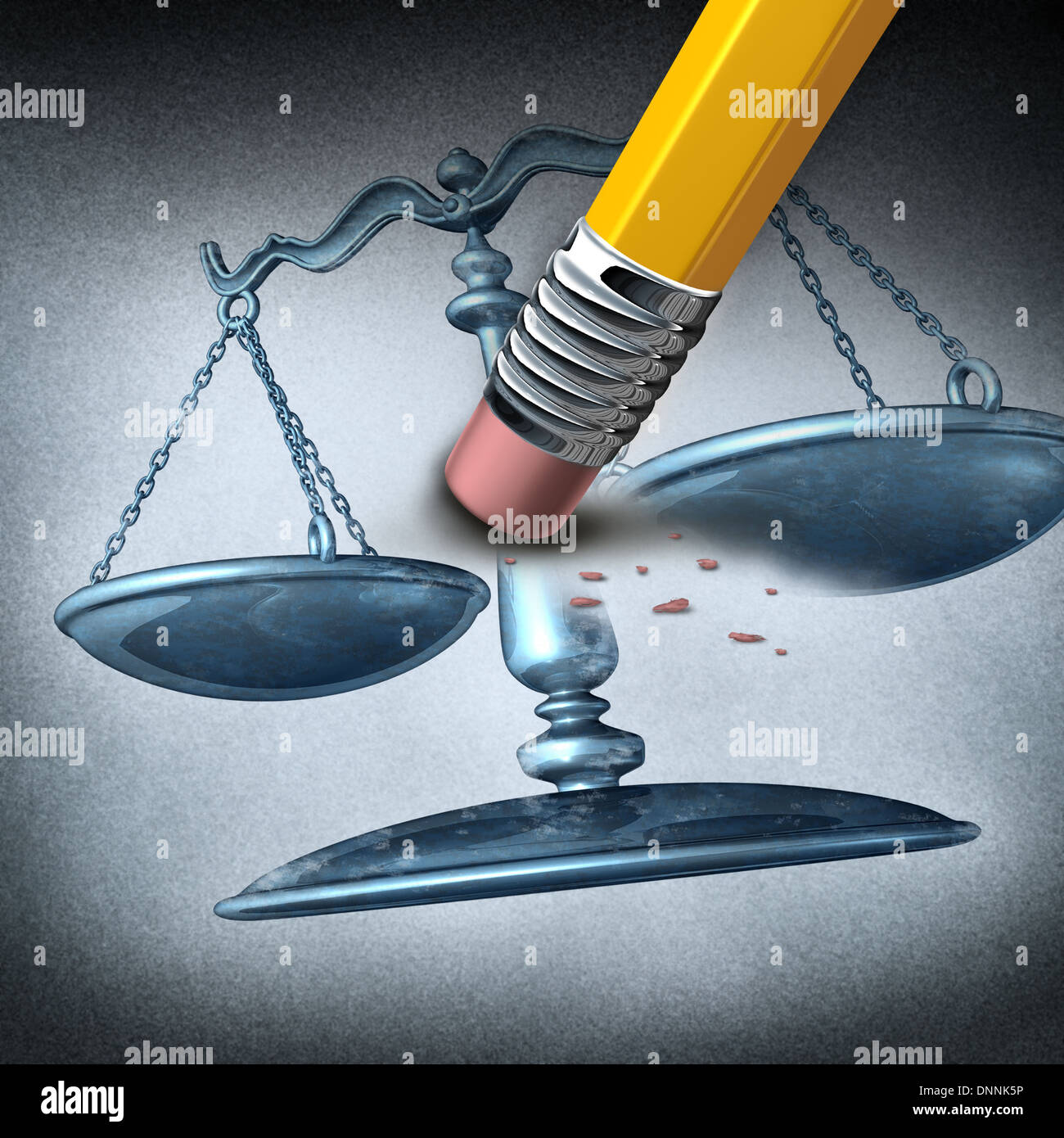 Injustice and discrimination as a legal system concept for breaking the law and performing unfair illegal acts as a pencil eraser erasing a justice scale as a metaphor for inequality and the stress of oppression. - Stock Image