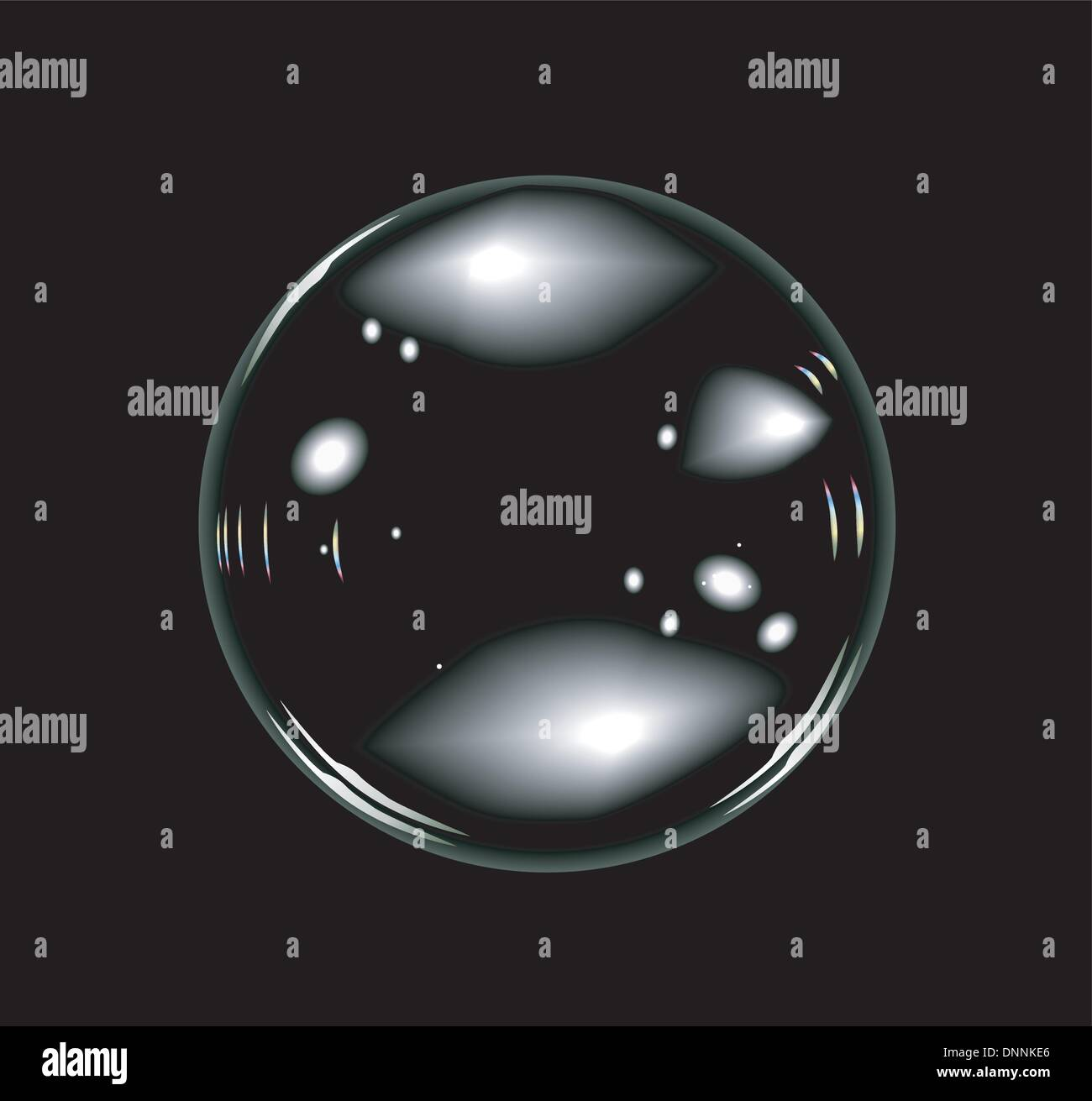 Vector of soap bubbles on balck background. No transparency and effects. - Stock Image