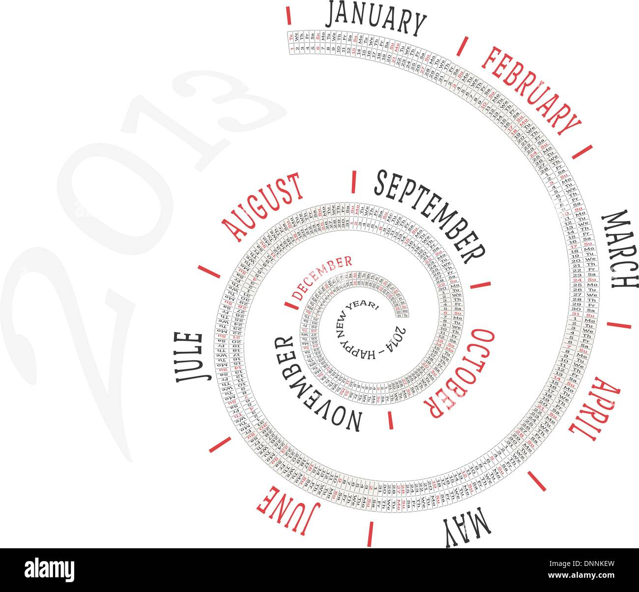 2013 calendar in spiral form with the names of days of the week and
