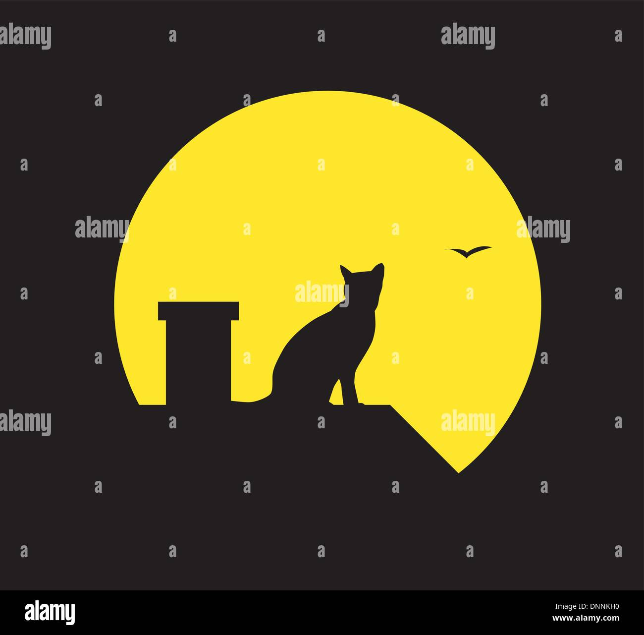 Vector silhouette cat at the moon on black background - Stock Vector