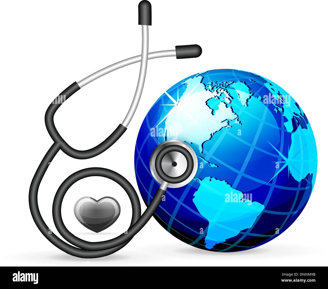 stethoscope and blue earth vector illustration isolated on white background - Stock Image