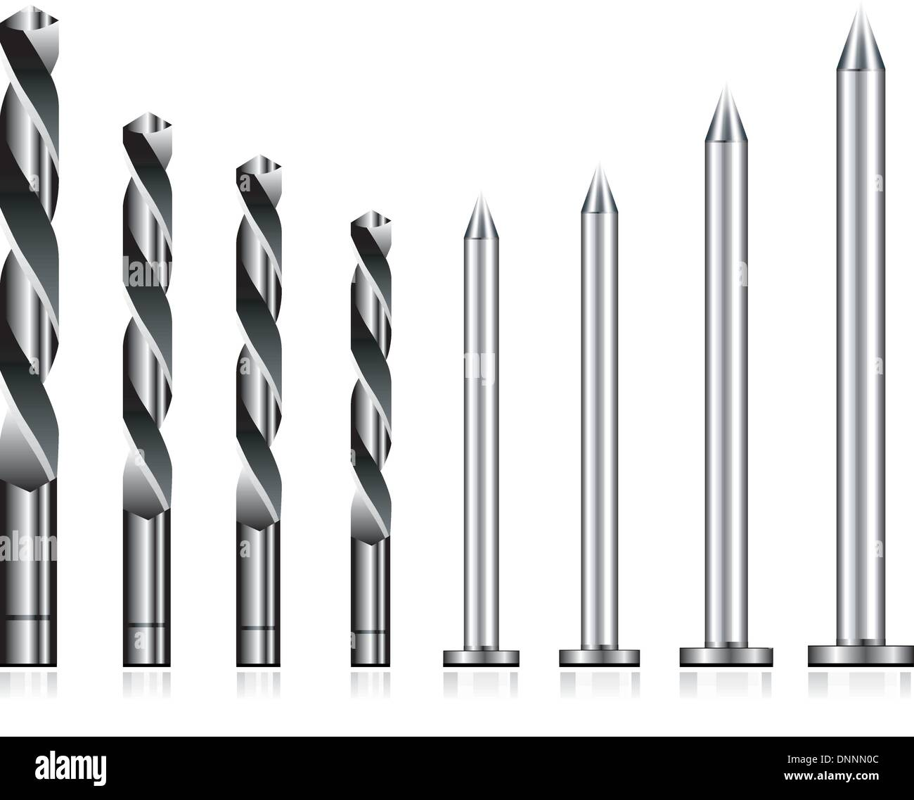 Realistic drill bit and steel nail set - Stock Image