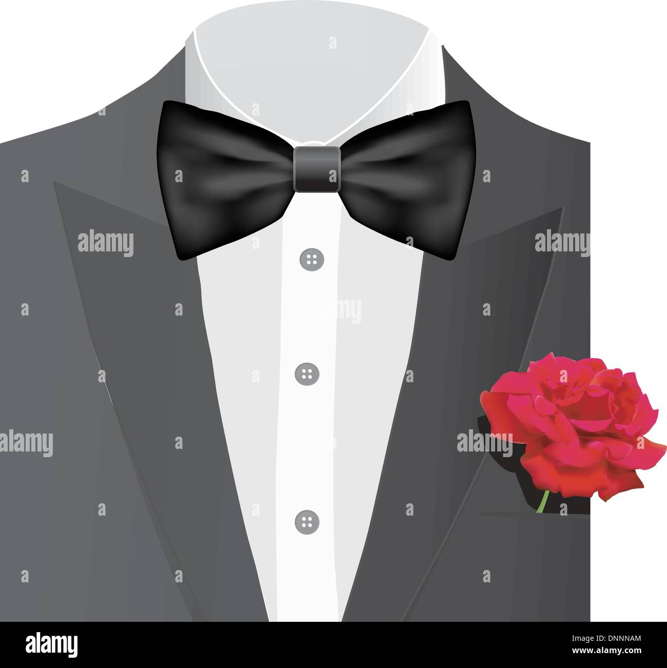 Bow tie with red rose, vector illustration - Stock Image