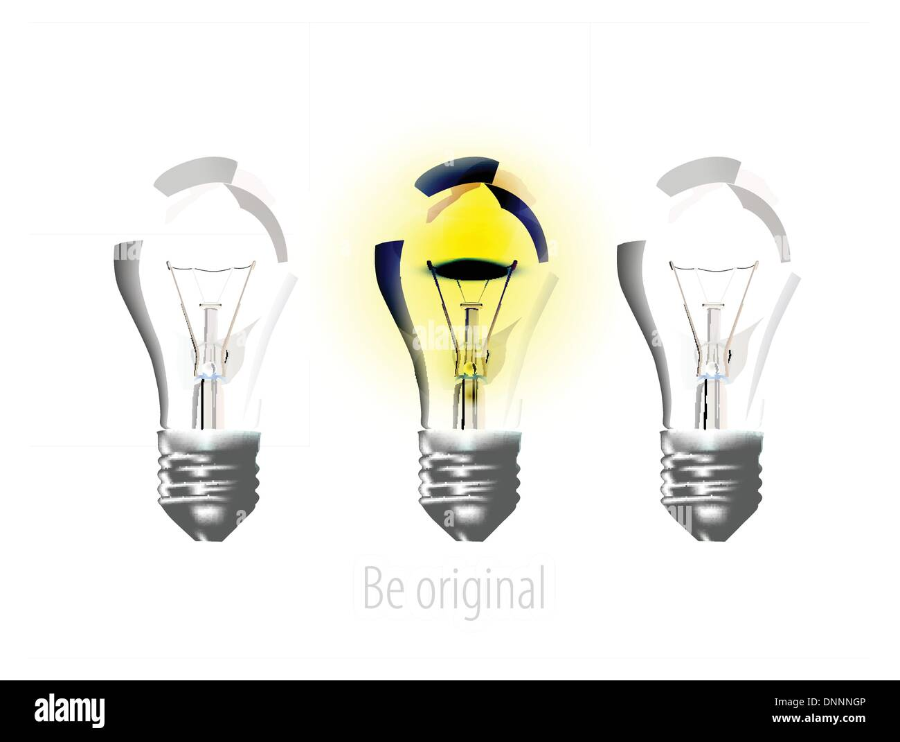 Realistic lamps on white - Stock Image