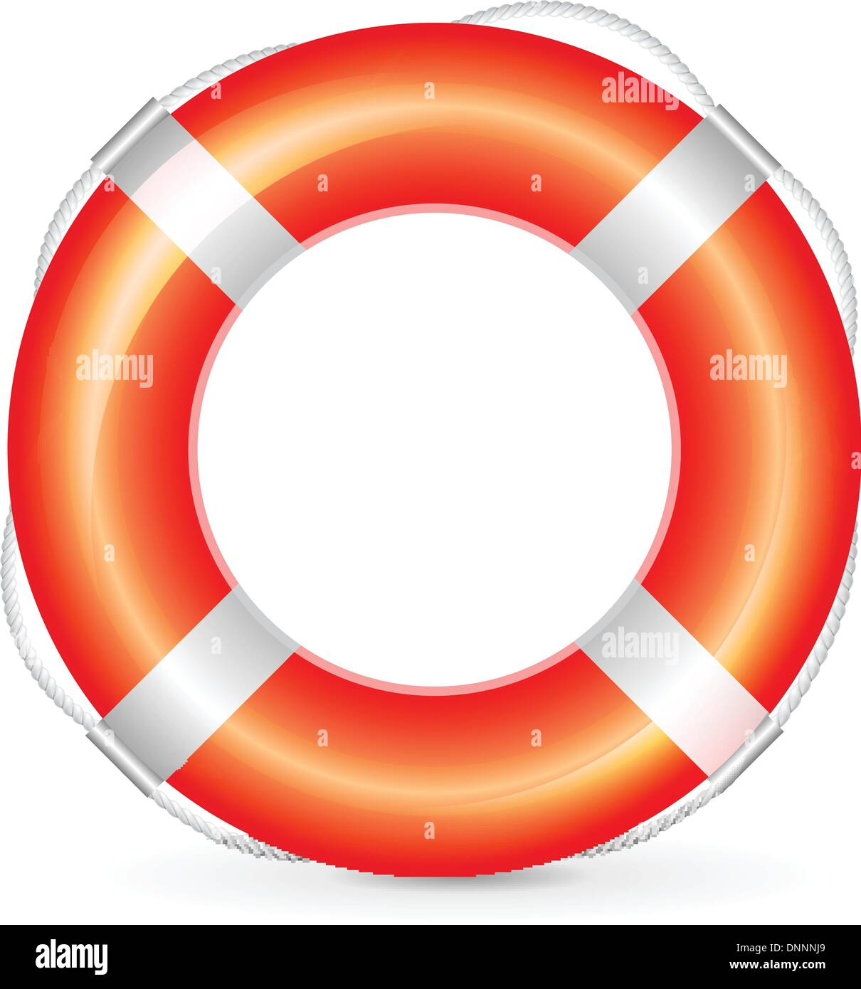 Realistic red lifebuoy with rope on white background - Stock Image