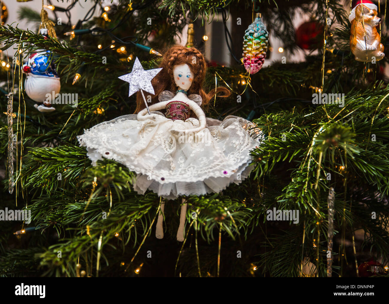 hand made traditional christmas tree fairy decoration in white antique lace dress with wand and silver star - Antique Silver Christmas Decorations