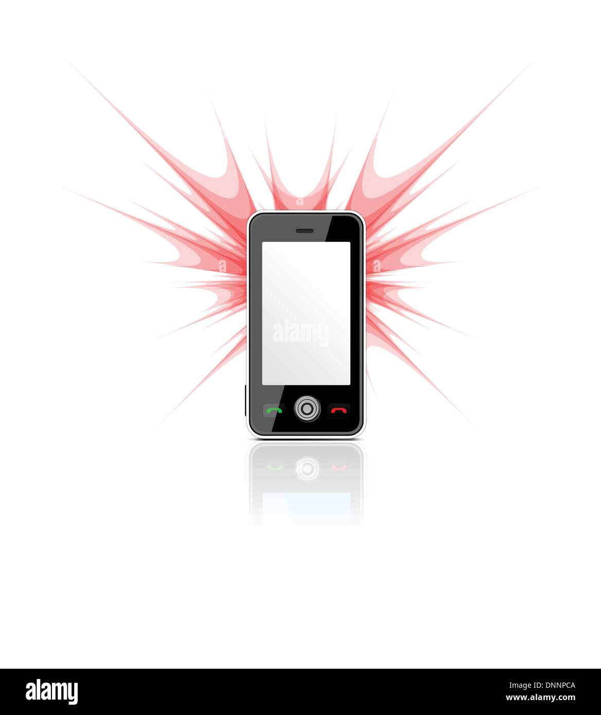 Blank mobile phone used as a camera with flash on white. Vector illustration - Stock Image