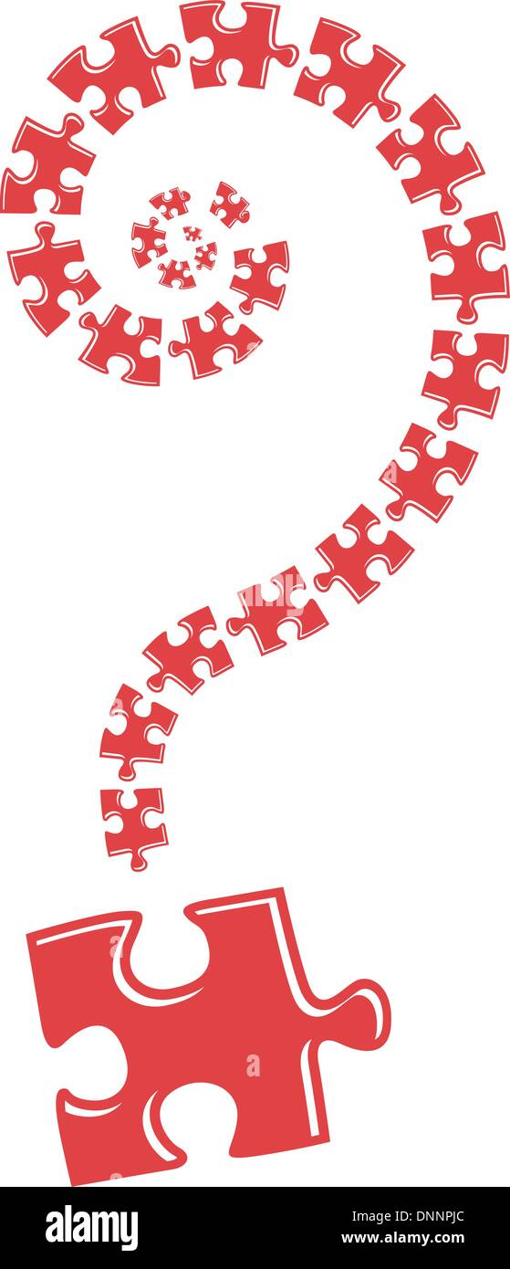Question mark from puzzle illustration on white background - Stock Image