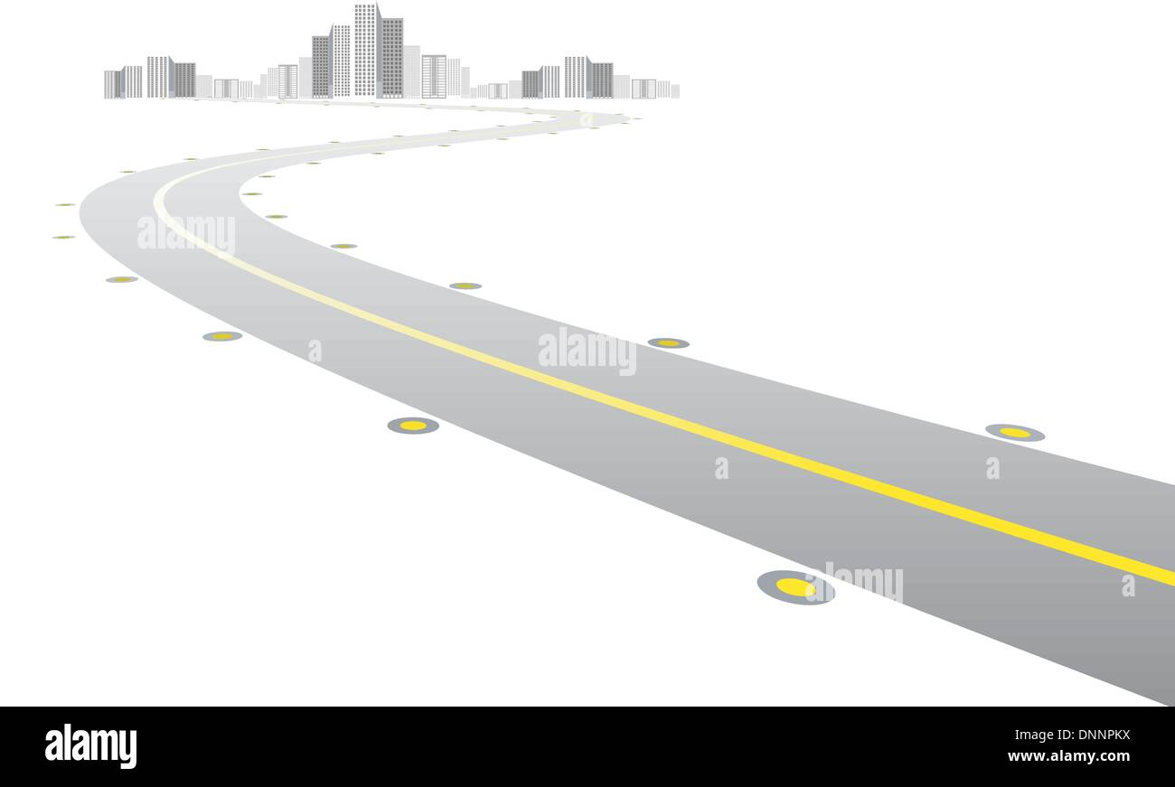 Vector - road leads to city on white background - Stock Image