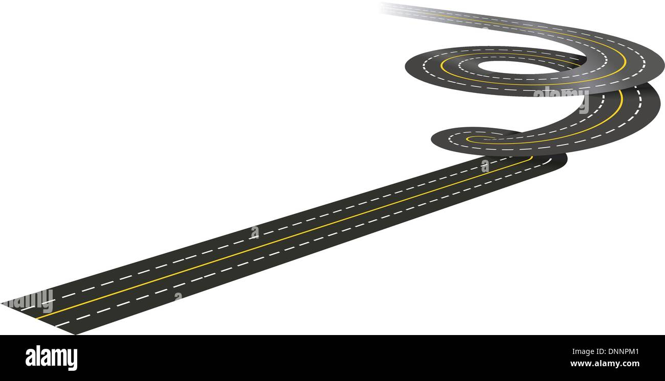 Spiral road concept illustration isolated on white background - Stock Image