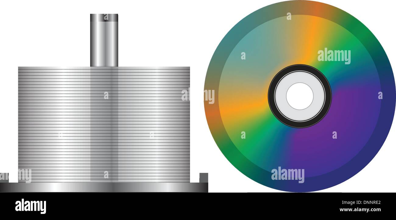 Stack of blank CDs, isolated on white background - Stock Image