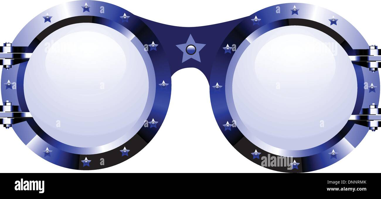 Sunglasses in disco style on white - Stock Image