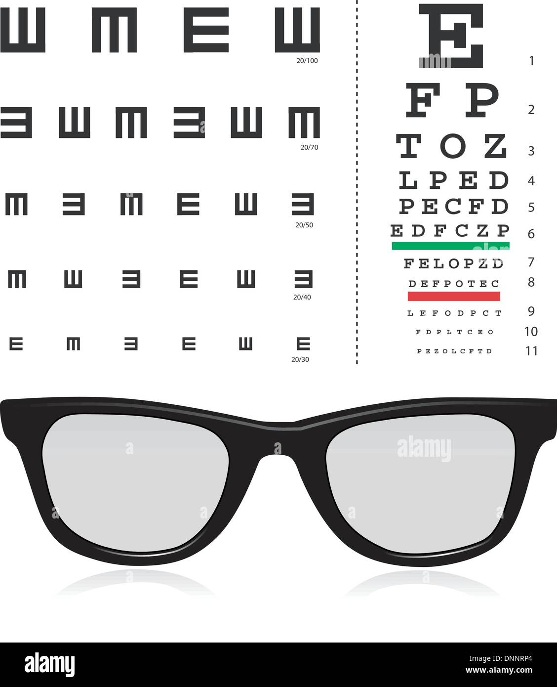 vector Snellen eye test chart with glass isolated on white background. - Stock Image