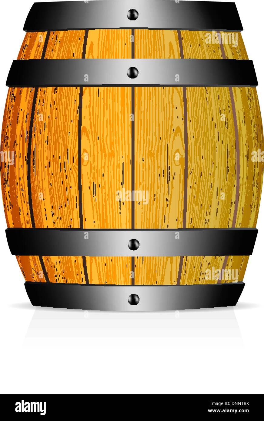 Wooden barrel vector illustration on white background - Stock Image