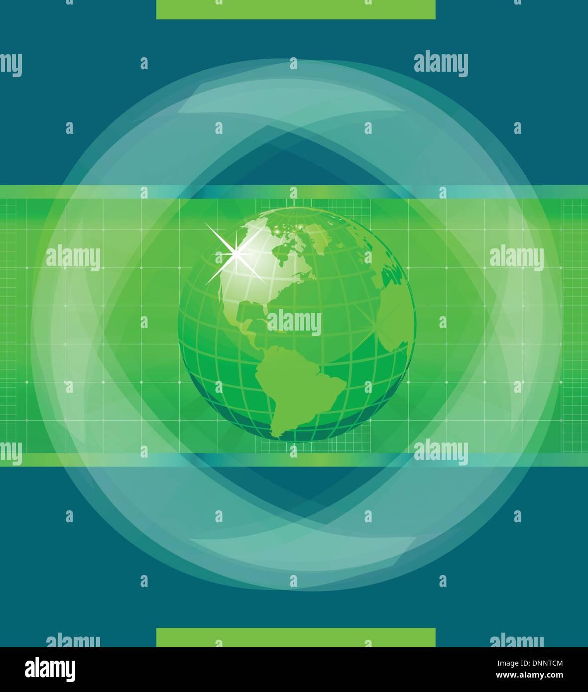Green World globe - Stock Image