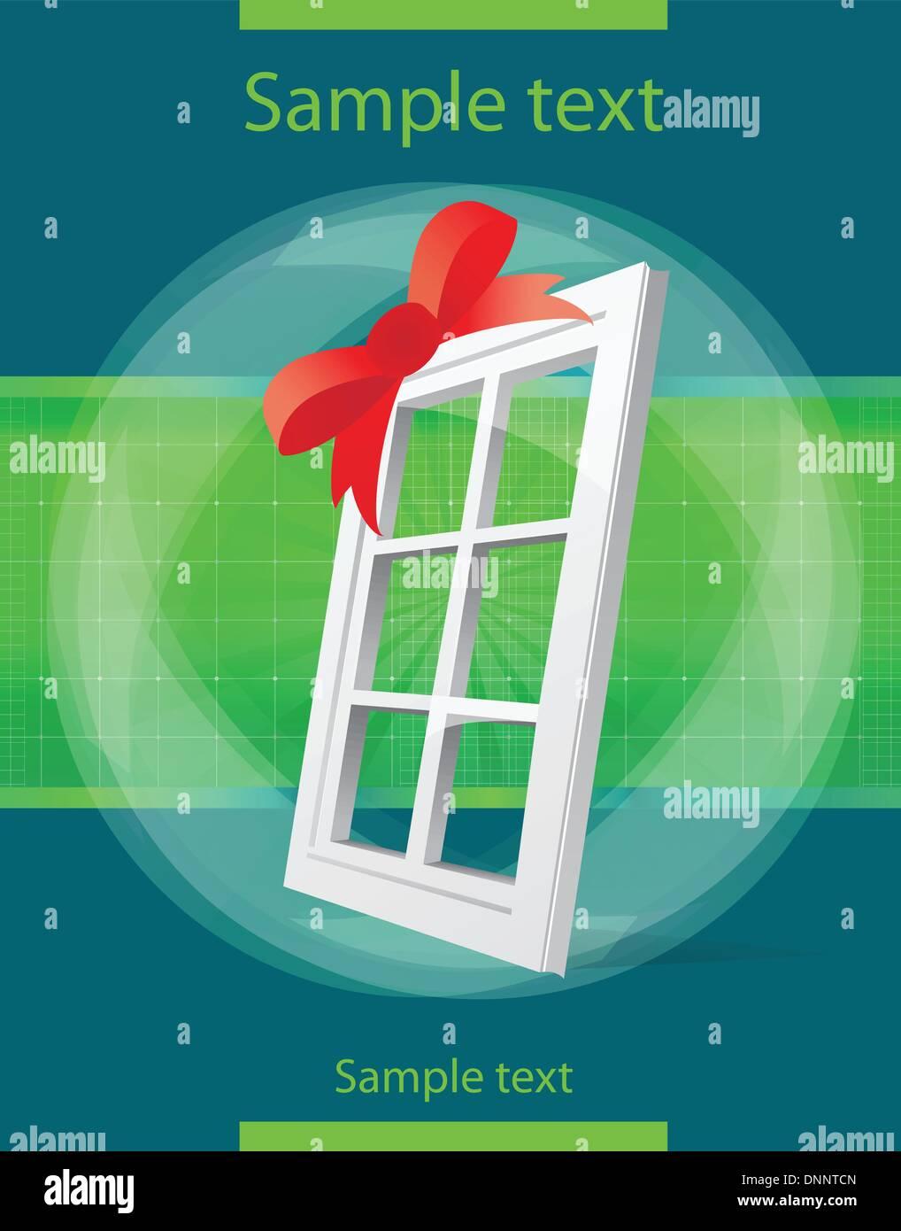 perspective plastic window illustration - Stock Vector