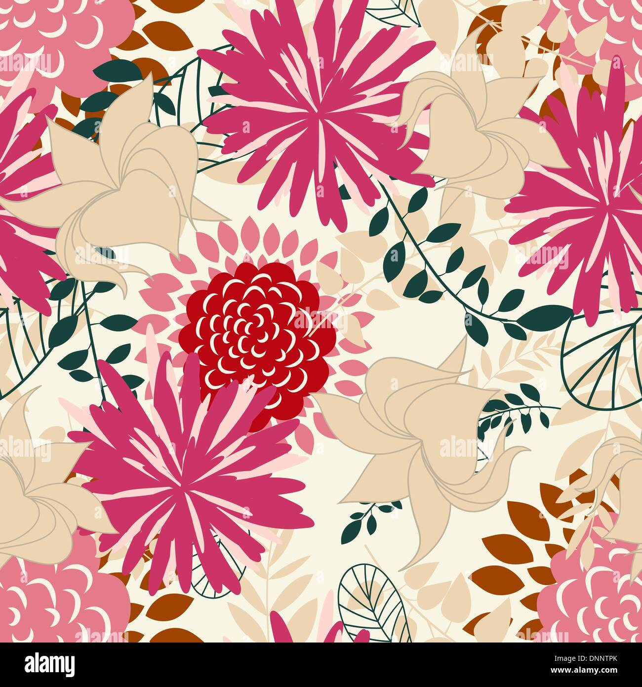 Seamless vector floral background. For easy making seamless pattern just drag all group into swatches bar, and use - Stock Image