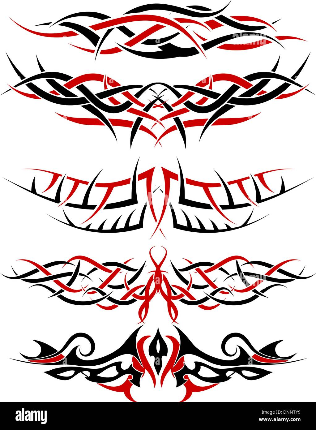Black With Red Patterns Of Tribal Tattoo For Design Use Stock Vector