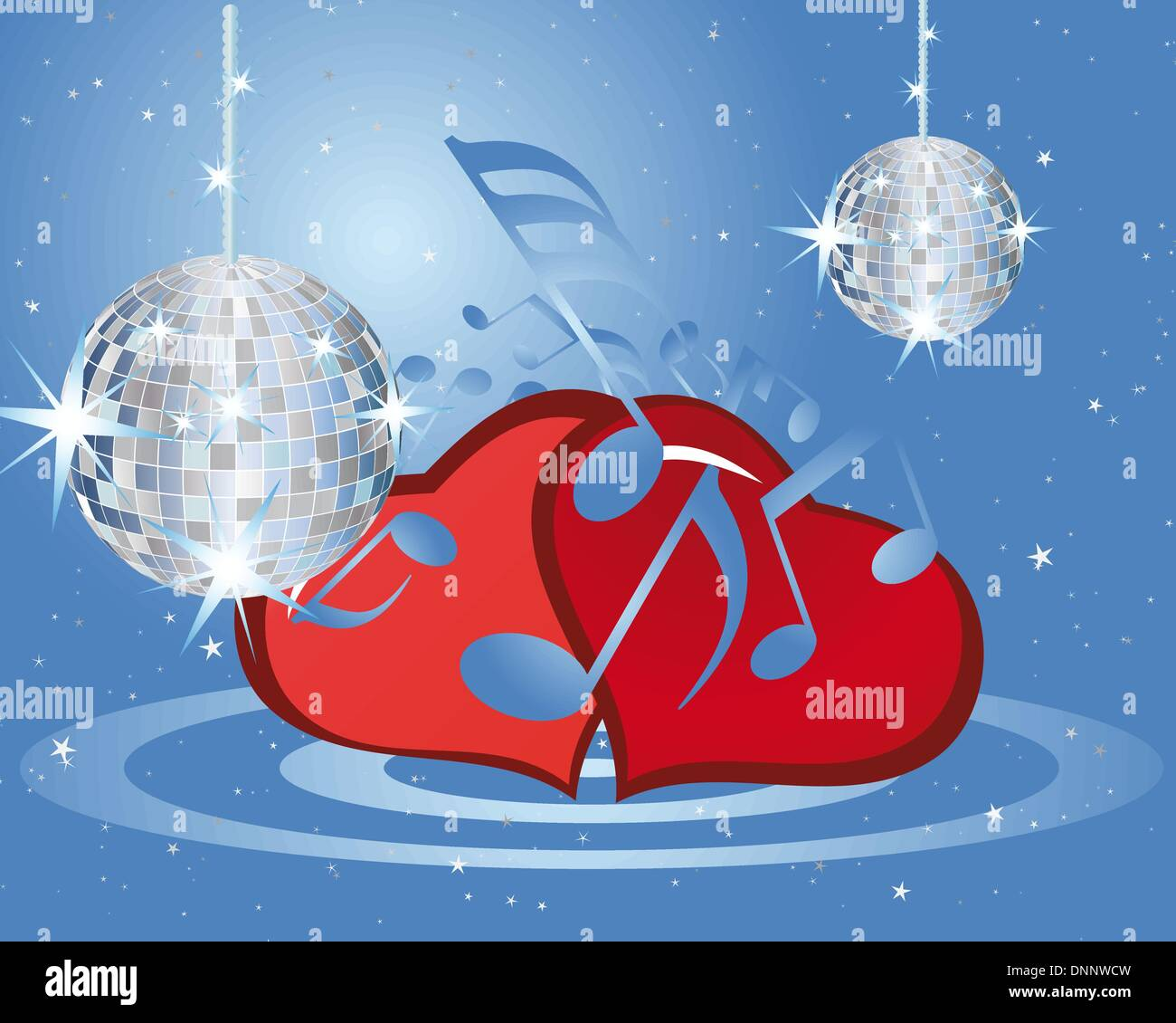 St. Valentine days musical background with hearts - Stock Image
