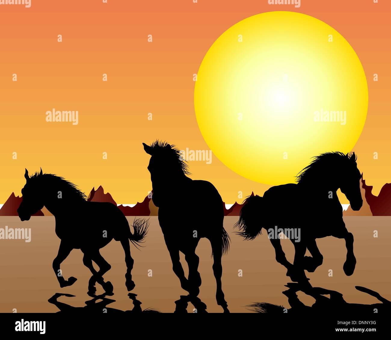 Horse Silhouette On Sunset Background Vector Illustration Stock Vector Image Art Alamy