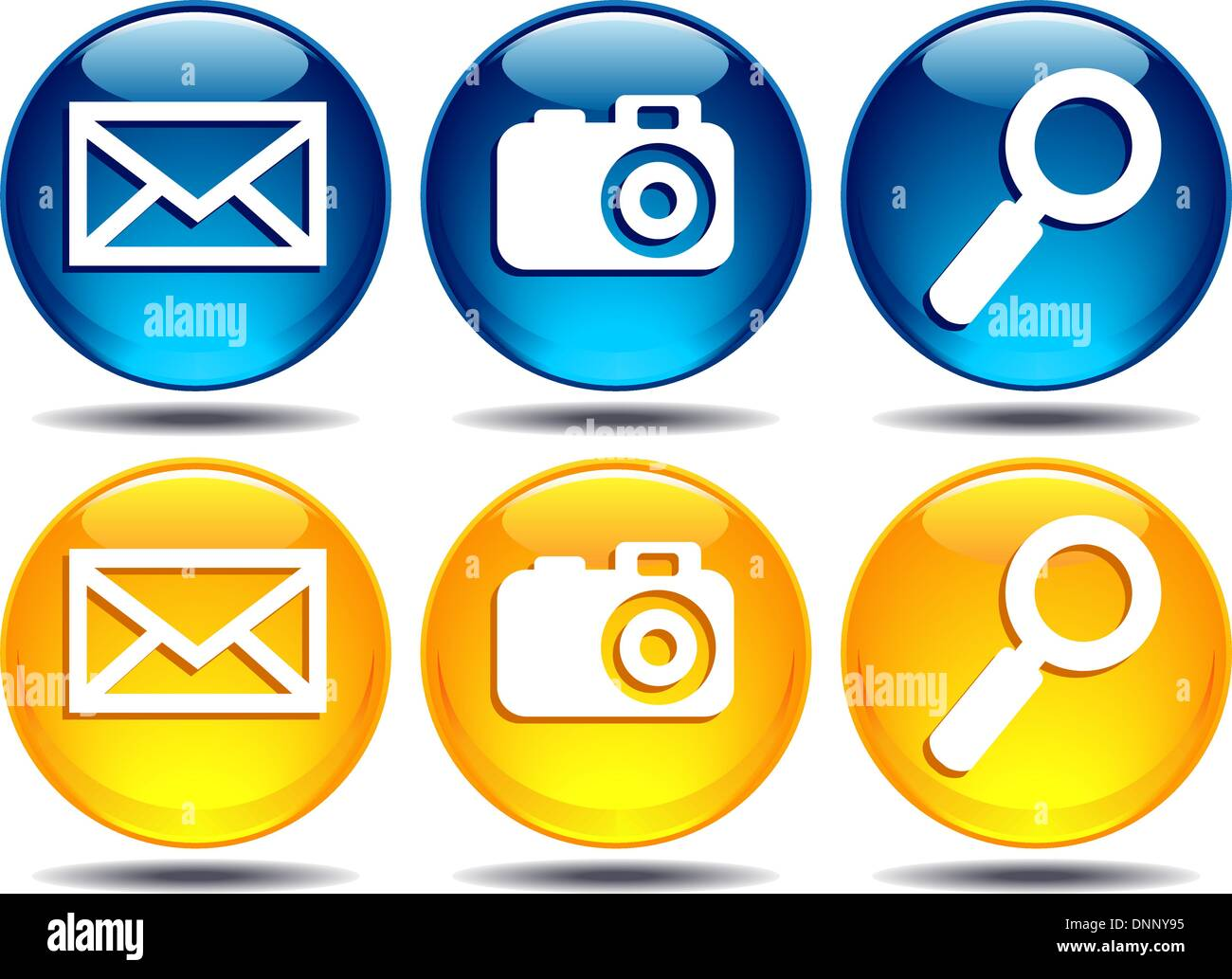Search enlarge magnifier Magnify Camera picture photo digital photography digitally envelope mail e-mail email buttons icons - Stock Image
