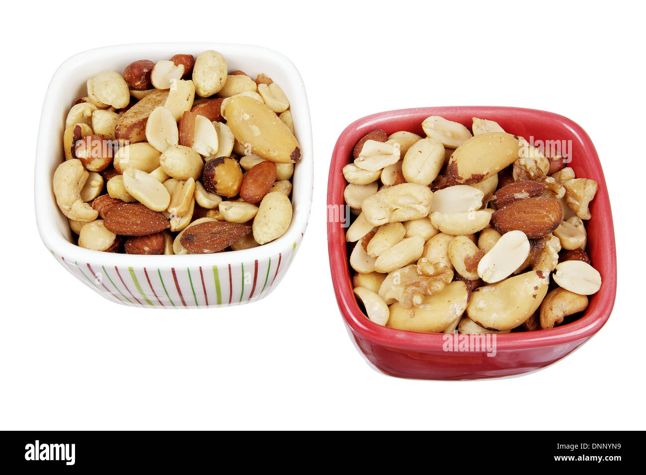 Mixed Nuts in Bowls - Stock Image