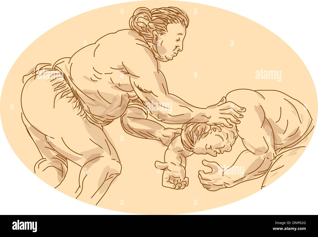 Hand drawn and sketched illustration of two sumo wrestlers wrestling viewed from the side set inside ellipse. - Stock Image